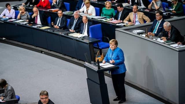 Angela Merkel während ihrer Rede am Mittwoch im Bundestag