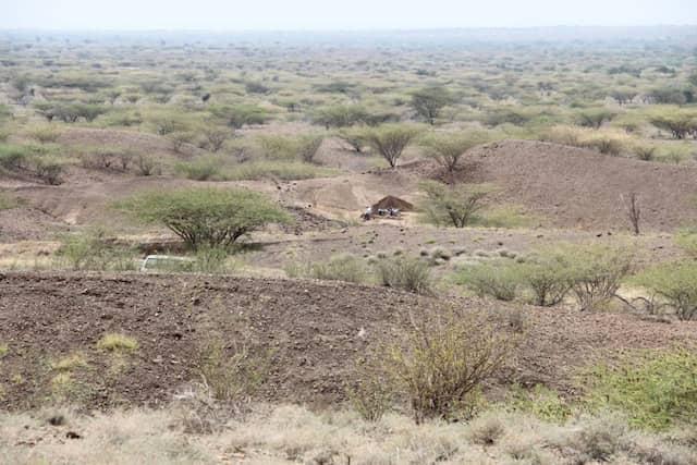 Die Landschaft um Lomekwi 3, der Fundort der Objekte am Westufer des Turkana-Sees in Ostafrika.